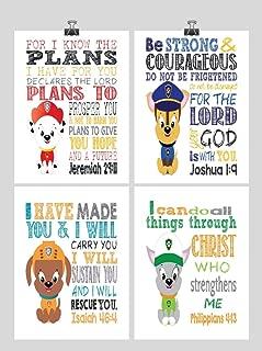 Paw Patrol Inspirational Nursery Decor Art Print Set of 4 - Chase, Marshall, Rocky and Zuma