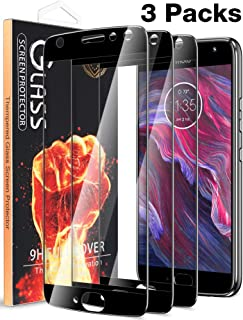 [3 Pack] Fnova for Motorola Moto X4 Screen Protector Tempered Glass, Full Cover Anti Scratch Bubble Free Ultra HD Clear Screen Protector Film, [Lifetime Replacement Warranty] Black