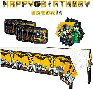 Batman Lego 16 Guests Party Supplies Value Pack (1 Batman Lego Party Banner,16 Batman Lego 7