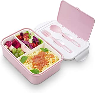 Lunch Boxes for Kids | Bento Box Containers for Adults |3 Compartment Meal Boxes for Work or School (Pink)