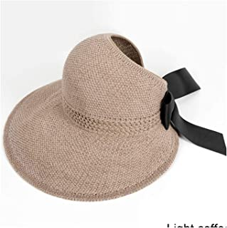 Fashion Bow Sun Hats Women Ponytail Sun Cap Ribbon Knitted Hat for Women UV Protction Coffee