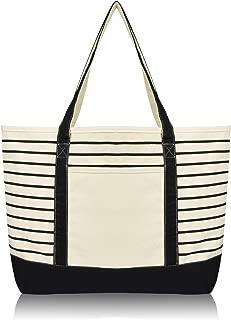 DALIX Large Stripe Tote Deluxe Shoulder Bag Cotton Canvas in Black