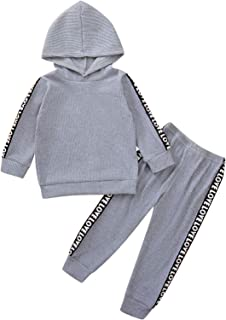 Toddler Kids Tracksuit Baby Boys Girls Hooded Top + Sweatpants Outfits Solid Color Clothes Set