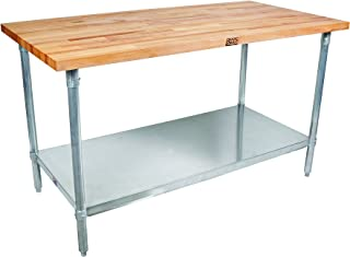 """John Boos JNS10 Maple Top Work Table with Galvanized Steel Base and Adjustable Galvanized Lower Shelf, 60"""" Long x 30"""" Wide..."""