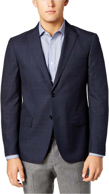 Ryan Seacrest Mens Windowpane Sport Coat, Blue, 44 Long