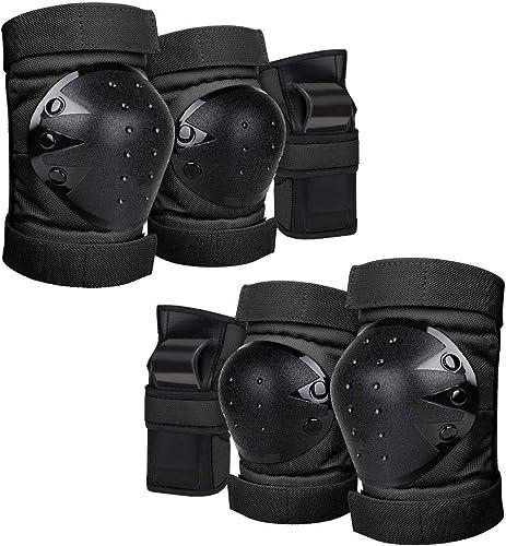 popular Geelife Knee lowest Pads Elbow Pads Wrist Guards 3 in 1 Skateboard outlet online sale Protective Gear Set for Rollerblading Skateboarding Cycling Skating Scooter Bike Kids/Adults (Black, Adult) outlet sale