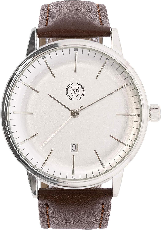 Brown Squirrel (Reloj analógico para Hombre, Cuarzo, Correa de Piel, Función Calendario) Watch Business Elegantes Tendencia Casual Relojes de Pulsera Regalo