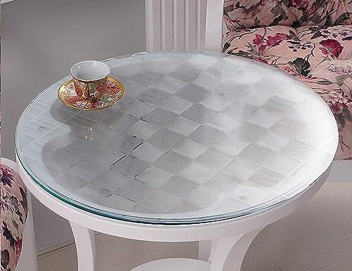 Nappe Ronde En Verre Souple PVC Transparent Nappe Imperméable à L'eau Table De Table Mat Table Nappe En Plastique (1.5mm) ( taille   Diameter100cm )