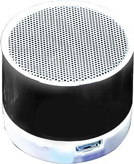 Led Light Bluetooth Round Mini 3W Portable BT Speaker with USB SD Card Slot Black