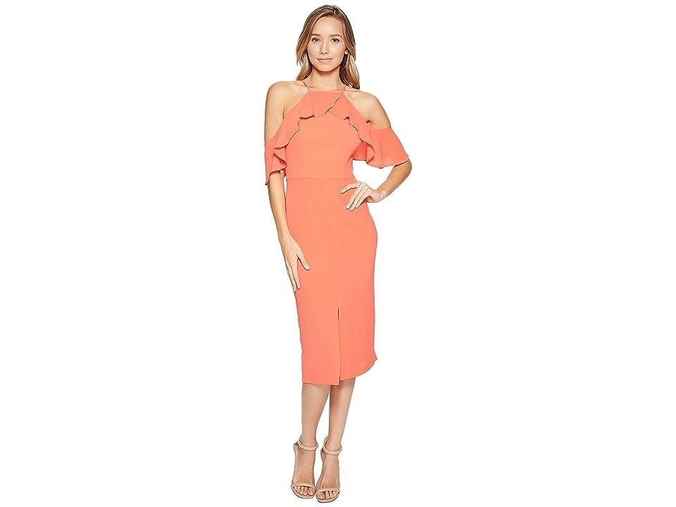 Maggy London Cold-Shoulder Ruffle Sheath Dress (Begonia) Women
