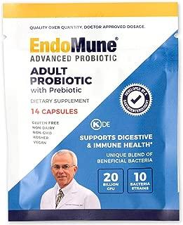 EndoMune Advanced Adult Multi-Strain Probiotic Supplement with Prebiotic   10 Strains, 20 Billion CFU   Physician Formulated (14-Count)