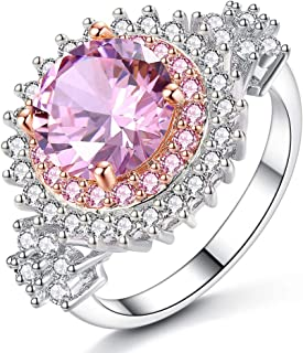 HYLJZ Anello Luxurious Women Rhodium Plated Round Pink Yellow Big Crystal Ring