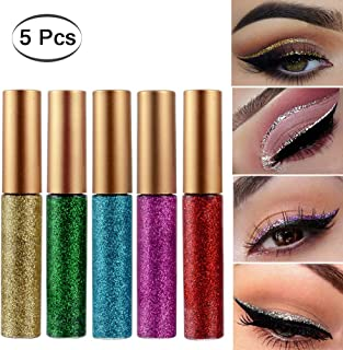 Glitter Liquid Eyeliner Eyeshadow 5 Colors Highlighter Brighten Concealer Face Eye Cosmetic Glow Shimmer Makeup Glitter Brighten Pigments Makeup Cover Perfection Tip Concealer for women (5 Pcs B)