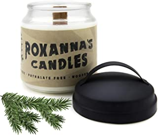 Blue Spruce Scented Soy Candle with Crackling Wooden Wick | Handmade Artisan Scented Natural Fragrances Infused with Essential Oils, Non-GMO Wax, Large 16oz Jar 120+ Hr Burn Time, Aromatherapy Candles
