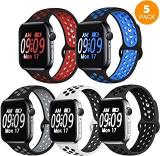 DOBSTFY Sport Band Compatible for iWatch Band 38mm 40mm 42mm 44mm, Soft Silicone Sports Band Replacement Nike Watch Bands Compatible for 2018 iWatch Series 5 4 3 2 1, Men/Women, 42 44mm M/L - 5 Pack