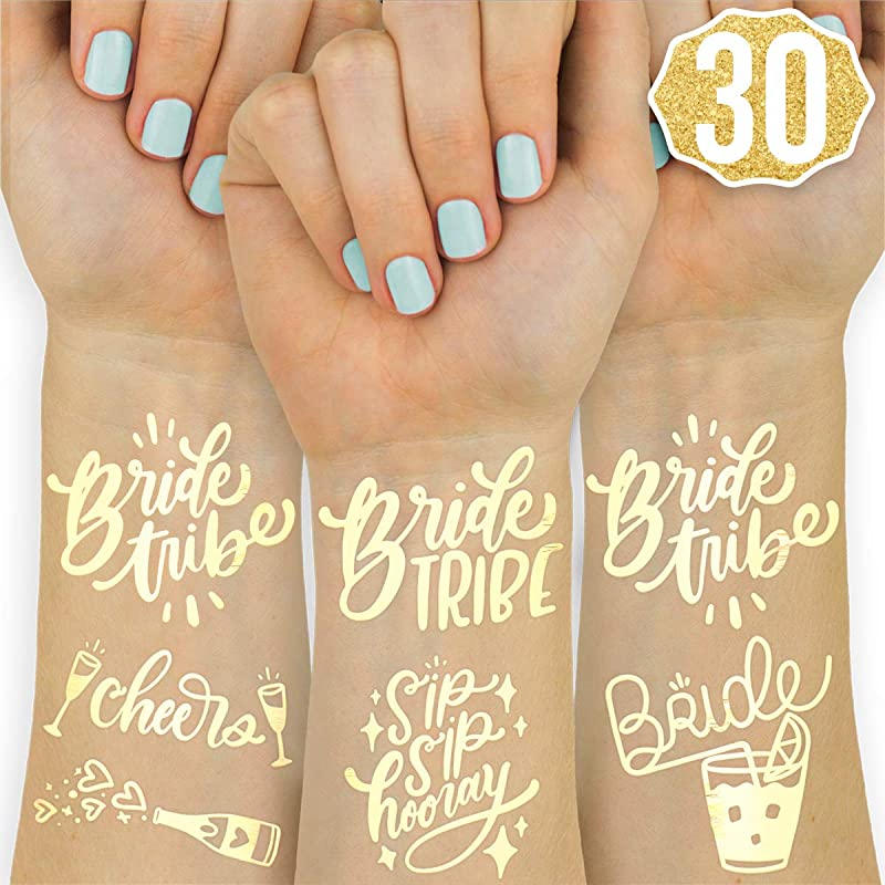 Xo Fetti 30 Bride Tribe Metallic Tattoos Bachelorette Party Decorations Bridesmaid Favor Bride To Be