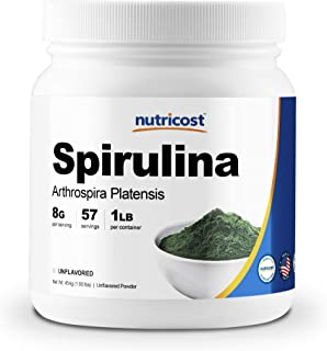 Nutricost Spirulina Powder 454 Grams (1LB) - Pure Spirulina Powder; 8000mg Per Serving, 57 Servings - Highest Quality Spirulina