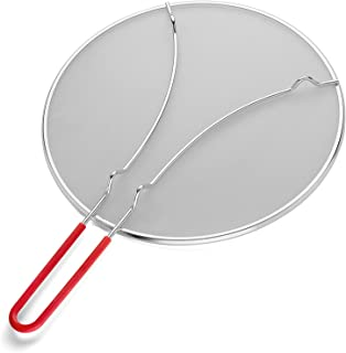 """K BASIX Splatter Screen for Cooking 13"""" - Silicone Handle - Stops Hot Oil Splash - Protects Skin from Burns - Grease Guard for Frying Pan Keeps Your Kitchen Clean - Heavy Duty Ultra Fine Mesh"""