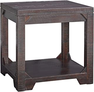Signature Design by Ashley Rogness Rustic Square End Table, Distressed Dark Brown Finish