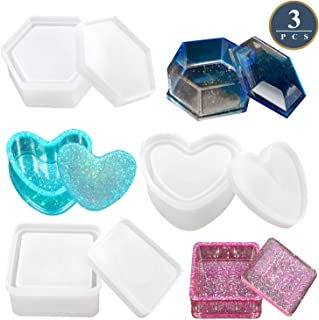 Box Resin Molds, Jewelry Box Molds with Heart Shape Silicone Resin Mold, Hexagon Storage Box Mold and Square Epoxy Molds for Making Resin Molds