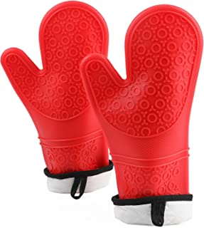 YellRin Silicone Oven Mitt Heat Resistant Professional Kitchen Oven Gloves Quilted Liner & Non-Slip Textured Microwave 1 Pair