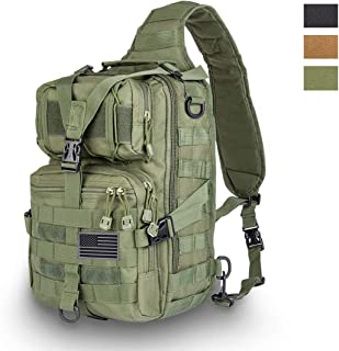 Tactical Sling Bag Pack Military Rover Shoulder Sling Backpack EDC Molle Assault Range Bag Everyday Out Carry Diaper Bag Carry Bag with USA Flag Patch Small