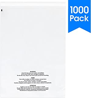1000 Count - 11 X 14 Self Seal 1.5 Mil Clear Plastic Poly Bags with Suffocation Warning - Permanent Adhesive by Spartan Industrial (More Sizes Available)