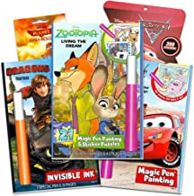 Disney Invisible Ink Activity Book Set for Kids Toddlers -- 3 Travel Activity Books Featuring Zootopia, Cars and How to Train Your Dragon with Invisible Ink Pens and 400 Stickers