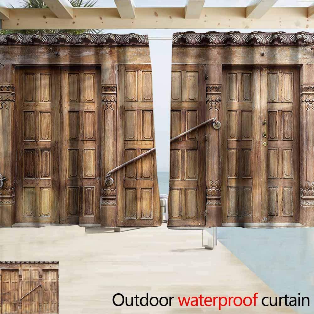 Beihai1Sun Cortina para Puerta corredera, rústica, Color Rosa, con Bolsillo para Barra de Madera, con Aislamiento térmico eficiente: Amazon.es: Jardín