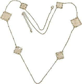 Long Simple Glass Bead Squares Unique Simple Dainty Boutique Style Trendy Gold Tone Necklace