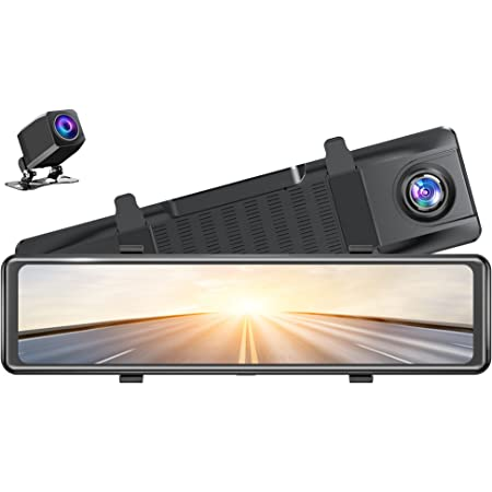 """AKASO DL12 2.5K Mirror Dash Cam Voice Control 12"""" Touch Screen Front and Rear Dual Dash Camera for Cars Night Vision Backup Camera with Sony Starvis Sensor GPS G-Sensor Parking Assistance"""