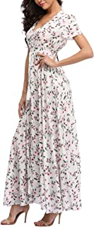 Women's Floral Maxi Dresses Boho Button up Split Beach Party Long Dress