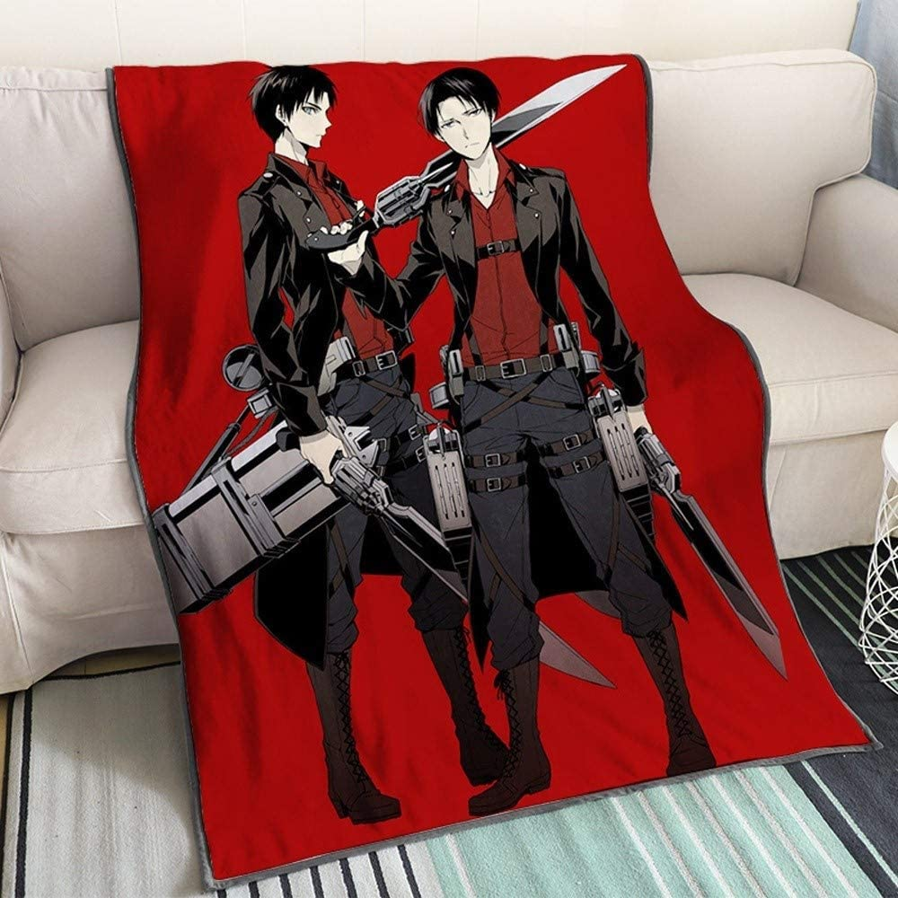 Amazon Com Xungzl Attack On Titan Eren Jaeger And Levi Ackerman Red Background 3d Printed Blanket Cartoon Anime Characters Soft Plush Flannel Blanket Quilt Anime Fans Otaku Gift Bedding Home Kitchen