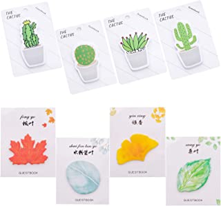 OPCOL Cute Cactus and Leaf Sticky Notes, Plant Shaped Self-Stick Memo Note Pads