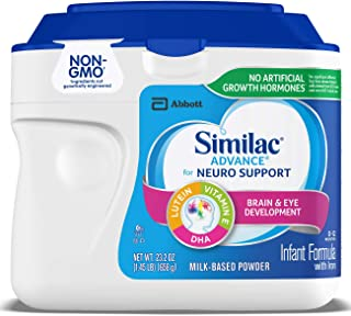 Similac Advance For Neuro Support, Non-GMO Infant Formula with Iron, Baby Formula Powder, 23.2 oz (Pack of 6) Packaging May Vary