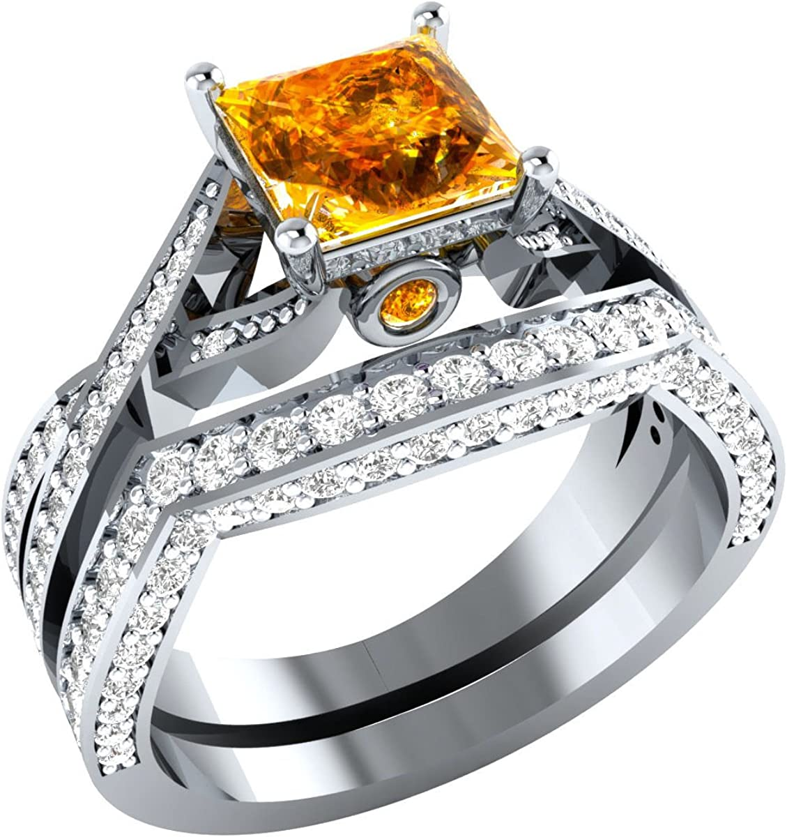Gold Free shipping anywhere in the nation Diamonds Jewellery 1.65 ct Citrin Princess Created Oakland Mall Orange