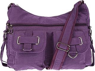 Christian Wippermann Damenhandtasche Schultertasche aus Canvas Lila