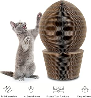 YOUTHINK Cat Scratcher Cardboard, Collapsible Cat Scratcher Lounge Bed with Ball Toy Bell & Catnip, High Density Recycled Corrugated Kitty Scratching Pad Cats Turbo Toys