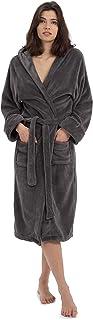 Lumaland Luxury Mikrofaser Bademantel mit Kapuze für Damen und Herren in verschiedenen Größen und Farben