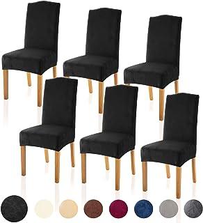 TIANSHU Velvet Dining Chair Cover Soft Stretch Dining Room Chair Slipcover Set of 6, Black
