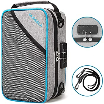 Smell Proof Bag, Smell Proof Container with 8 Layers of Thickened Carbon Lining, Smell Odor Proof Travel Storage Case with Combination Lock & Adjustable Shoulder Strap (10 x 7 x 4.5 inch), Light Gray