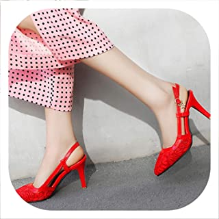 Lace Wedding Shoes Sexy Slingback Pointed Toe Women's Shoes Leather Sandals Shoes Woman