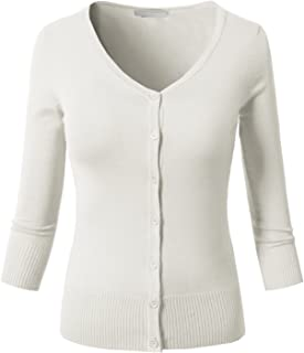 H2H Womens Casual Slim Fit Cardigans 3/4 Sleeve Button Down Knitted Sweaters - Crew Neck/V-Neck