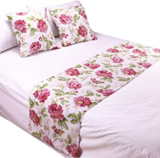 """YIH Red Flower Bed Runner 94"""" x 19"""" and Throw Pillow Cover Set, Luxury Decorative Bedding Protector Slipcover Bed Scarf fo..."""