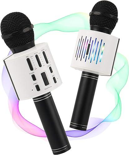 ALLCELE (Mise à niveau) Microphone Karaoké Bluetooth Sans Fil Microphone Karaoké pour Enfants Couple pour Duettes ave...