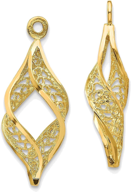 Polished Filigree Swirl Earring Jackets in 14K Yellow Gold