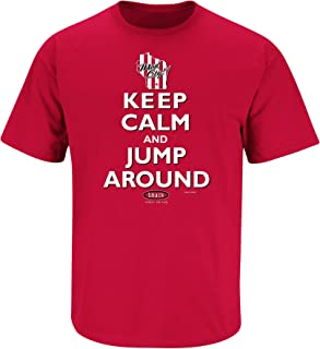 Smack Apparel Wisconsin Football Fans. Keep Calm and Jump Around. Red T Shirt (Sm-5X)