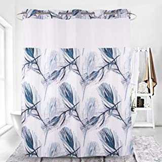 HappyBath 71x79 Hookless Fabric Shower Curtains with Removable Polyester Liner and Translucent See-Through Window–White&Peacock Blue Feather
