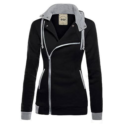 c6f78e337a4 DJT Womens Oblique Zipper Slim Fit Hoodie Jacket
