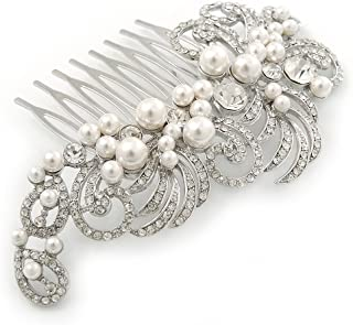Bridal/ Wedding/ Prom/ Party Rhodium Plated Clear Crystal, Simulated Pearl 'Feather' Hair Comb - 100mm